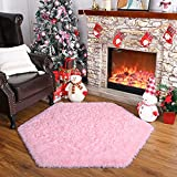 Foxmas Play Mat for Princess Tent Girls Castle, Play Tent Rug Kid Nap Mat Area Rug, Hexagon Playpen Mat for Kids, Playroom Rug for Playhouse, Playpen Mattresses for Play Yard 4.6 ft (Pink)