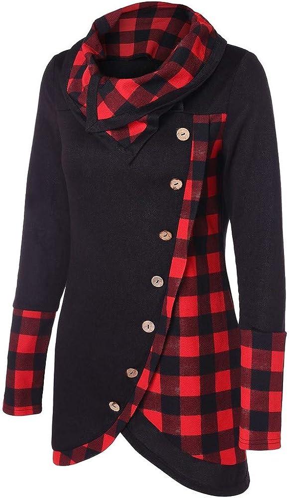 VECDY Damen Pullover,Räumungsverkauf- Herbst Frauen Langarm Hoodie Sweatshirt Pullover mit Kapuze Baumwollmantel Pullover Lässige hohe Kragen warmen Pullover Hoodie V-rot