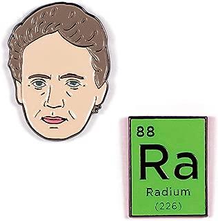 Marie Curie and Radium Enamel Pin Set - 2 Unique Colored Metal Lapel Pins