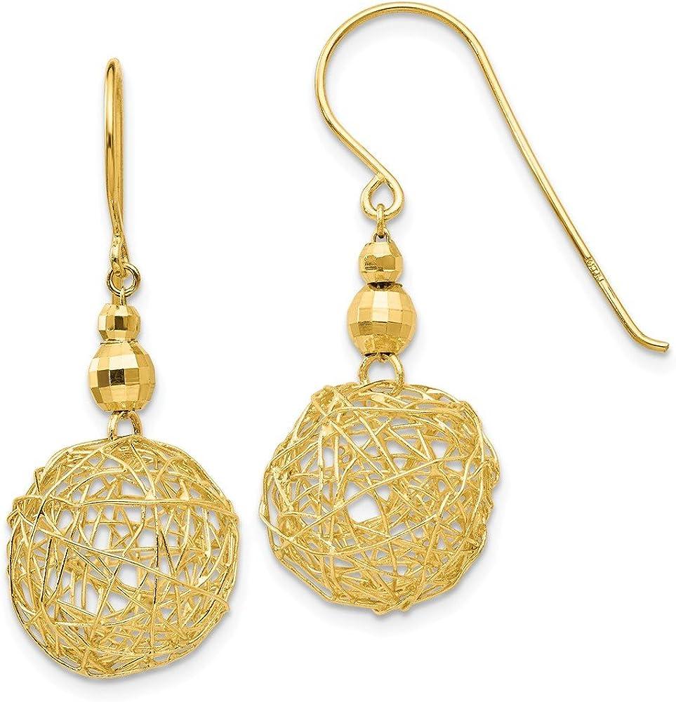14k Yellow Gold Mirror Bead & Wire Ball Earrings (31mm x 13mm)