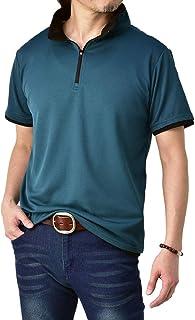 (フラグオンクルー) FLAG ON CREW ゆうパケット発送 ポロシャツ メンズ 半袖 吸汗速乾 ストレッチ 衿ジップ ゴルフ M L LL 3L 4L / B3M