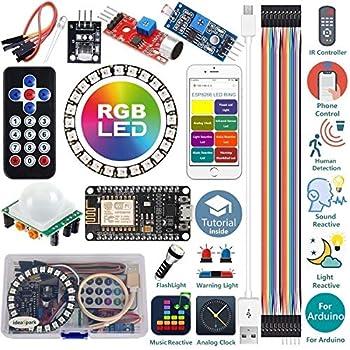 ideaspark Starter Kit for Arduino Kit ESP8266 LED Ring Strip Light RGB 24 Bits WS2812B WiFi/IR Control Sound/Light/Music Reactive,Analog Clock,Warning/Detection/Flash Light with Arduino IDE Tutorial