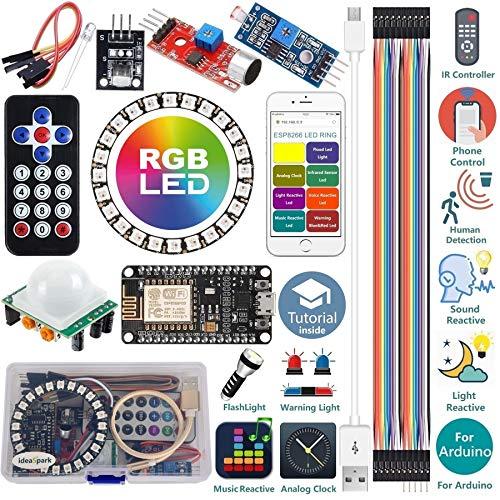 ideaspark Starter Kit for Arduino Kit ESP8266 LED Ring Strip Light RGB 24 Bits WS2812B WiFi/IR Control Sound/Light/Music Reactive,Analog Clock,Warning/Detection/Flash Light with Arduino IDE(Tutorial)