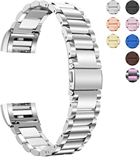 Oitom Stainless Steel Bands Compatilbe with Fitbit Charge 2,Premium Stainless Steel SS Metal Replacement Watch Band Strap for Smart Fitness Watch(Silver Stainless)