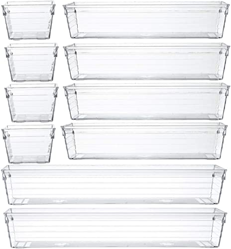 Backerysupply Clear Plastic Drawer Organizer Tray for Vanity Cabinet,Storage Tray for Makeup, Kitchen Utensils, Jewel...