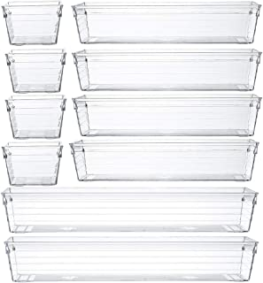 Backerysupply Clear Plastic Drawer Organizer Tray for Vanity Cabinet,Storage Tray for Makeup, Kitchen Utensils, Jewelries, and Gadgets, Plastic, Assorted,Set of 10