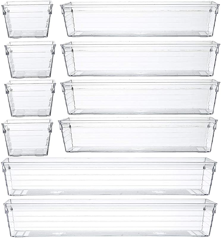 Backerysupply Clear Plastic Drawer Organizer Tray For Vanity Cabinet Set Of 10 Storage Tray For Makeup Kitchen Utensils Jewelries And Gadgets