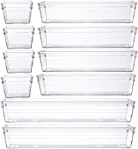 Backerysupply Clear Plastic Drawer Organizer Tray for Vanity Cabinet,Storage Tray for Makeup, Kitchen Utensils, Jewelries,...