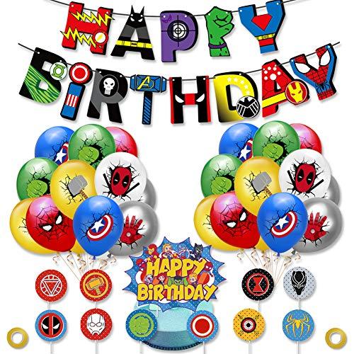 BAIBEI Kinder Superhelden-Latex-Luftballons, Superhelden Party Dekoration, Luftballons für Ihre Kinder Thema Partei Bevorzugung, 38pcs