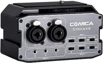 XLR Audio Mixer,Comica CVM-AX3 Audio Mixer Adapter Preamplifier Dual XLR/3.5mm/6.35mm Port Camera Mixer for Canon Nikon Sony Panasonic DSLR Camera Camcorder (Support Real-time Monitoring)