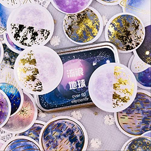 JiangGUOMIN 60 stuks/doos Starry Sky Planet Decoratie Mini papier Sticker Decoratie DIY album dagboek scrapbooking label sticker 2