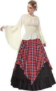 Womens Renaissance Medieval Costume Trumpet Sleeve Peasant Shirt and Skirt