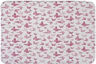 Light Pink Non Slip Door Mat,Fantasy Butterflies Watercolors Dreamlike Seasonal Nature Inspiration Decorative Floor Mat for Bathroom Living Room,23