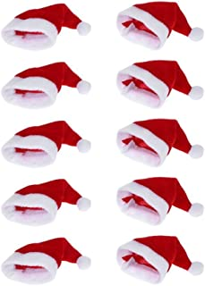 Moca 10pcs Mini Santa Hat Cup Bottles Cover Christmas Gift Home Christmas Decor