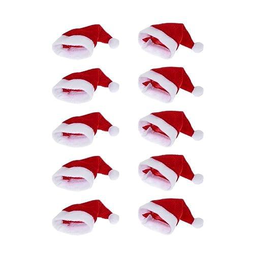 8eadaea9db7c3 Moca 10pcs Mini Santa Hat Cup Bottles Cover Christmas Gift Home Christmas  Decor