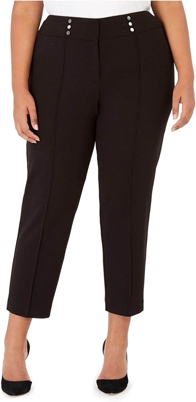 Kasper Womens Plus Button Detail Pleated Dress Pants