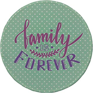 Non-Slip Rubber Round Mouse Pad,Family,Classical Polka Dots Background Creative Lettering Quote About Family,Purple Violet Mint Green,11.8