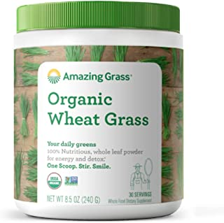 Amazing Grass Wheat Grass Powder: 100% Whole-Leaf Wheat Grass Powder for Energy, Detox..
