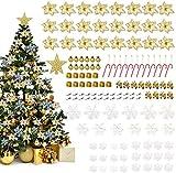 LIHAO Conjunto de 133 Adornos para Árboles de Navidad Decoración con Flores Artificiales, Bastones de Caramelo, Copos de Nieve
