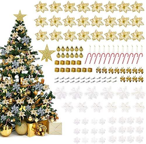 LIHAO Conjunto de 133 Adornos para Árboles de Navidad Decoración con Flores Artificiales, Bastones de Caramelo, Copos de Nieve ✅
