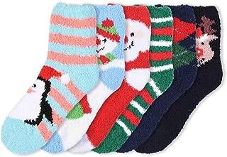 6 Pairs Crew Socks, Printed Fun Colorful Festive, Crew Knee Cozy Socks Women Fancy Christmas Holiday Design Soft