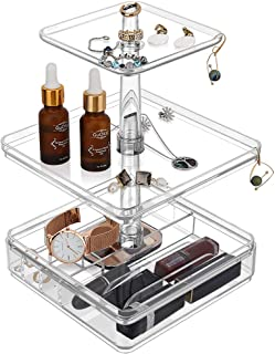 Emibele Jewelry Organizer, 3 Tier Jewelry Accessories Display Tower for Ring Necklace Bracelet Earring Holder Jewelry Tray - Clear