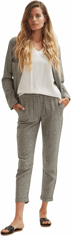 Shuuk Lightweight Linen Workwear Jacket Zipper Closure & Large Faux Horn Buttons