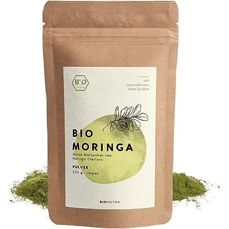 BIONUTRA® Moringa orgánica en polvo 250 g, polvo fino puro de hojas de Moringa Oleifera de cultivo ecológico controlado, producto justo de Sri Lanka