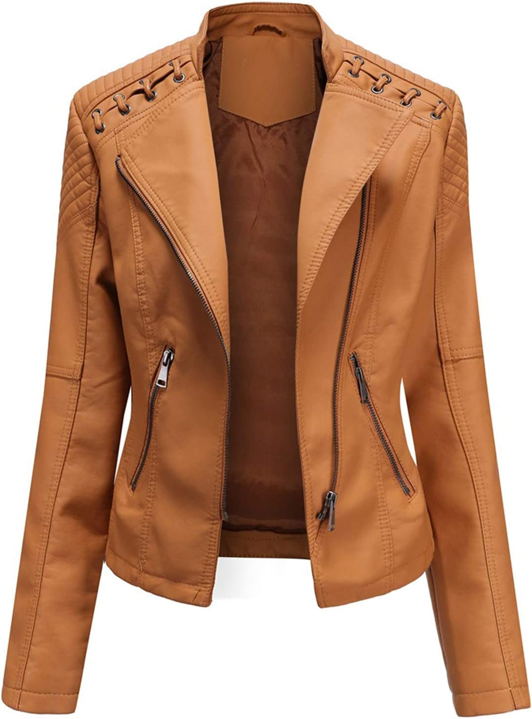 WEIXINMWP Fashion Leather Jacket Women Spring and Autumn Stand Collar Collar Motorcycle Rider Coat pu Jacket Coat high Street Jacket Street Clothing,Camel,M