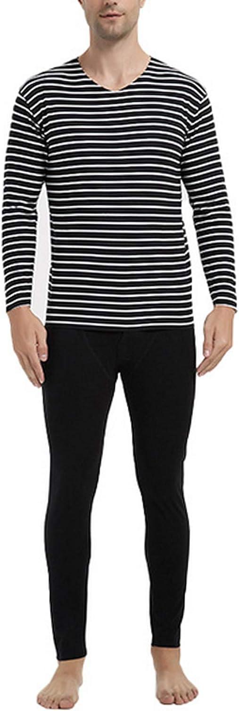 Jueshanzj Men's Stripes V-Neck Constant Temperature Thermal Underwear Sets