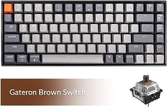 Keychron K2 Bluetooth Wireless Mechanical Keyboard with Gateron Brown Switch/White LED Backlit/USB C/Anti Ghosting/N-Key Rollover/Compact Design, 84 Key TenkeylessKeyboard for Mac Windows