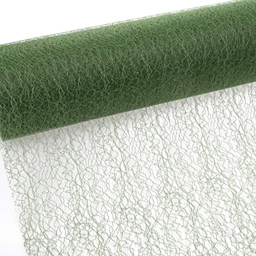 Spiderweb - Mesch - tafelband - tafelloper - 30 cm breed - 25 m lang - olijfgroen - 67 029-R 300