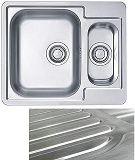 VBChome: Einbauspüle mit Hahnloch Links 615x500 mm Camping Küchenspüle - Satinstruktur Alveus Line 50 Spülbecken EDELSTAHL 1,5 Becken Ablaufgarnitur