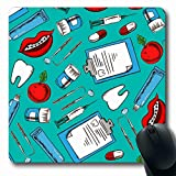 Ahawoso Mousepads for Computers Pill Teal Brace Dentistry Dental Care Pattern Instrument Sketched Apple Brush Clean Clinic Dentist Oblong Shape 7.9 x 9.5 Inches Non-Slip Oblong Gaming Mouse Pad