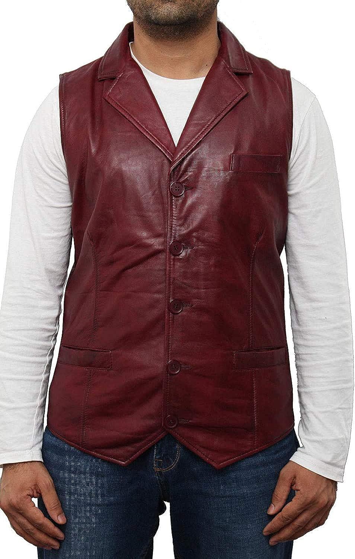 Men Cowhide Leather Vest Motorcycle Biker Mens Club Genuine Concealed Carry BLUF Vest