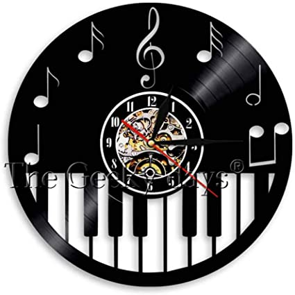 szhao Teclas de Piano Música Disco de Vinilo Reloj de Pared ...