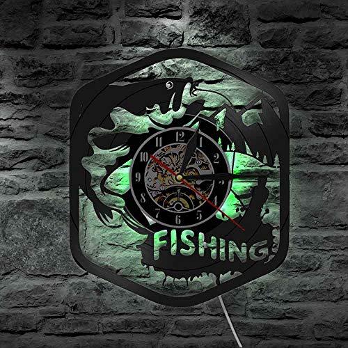 Luz de 7 Colores, Reloj de Arte de Pared para Pesca de Peces, Reloj de Pared con Disco de Vinilo silencioso, Reloj de Pared para Hombre Pescador, decoración del hogar, Regalo para Amantes de la Pesca
