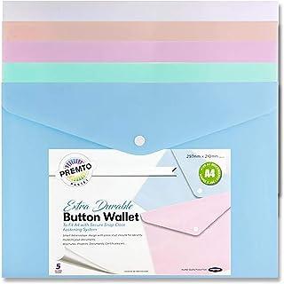Premier Stationery Premto dokumentmapp med knappar Olika pastellfärger: Vit, persika, rosa, grön och blå. 5 stycken