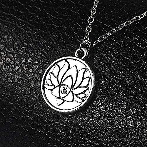 ZVBEP Halskette mit rundem Anhänger in Silber mit Lotus für Frauen mit Yoga-Anhänger Halsketten Sportart Geschenke Retro religiöser Schmuck