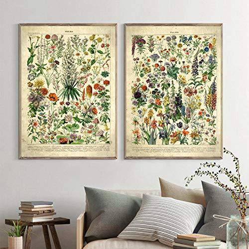 WKAQM Francés Flor Fleurs Lienzo Pintura Vintage Poster Y Impresiones Botánico Pared...