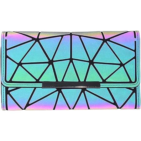 Geometrische Lange Brieftasche und Geldbörse - Mode Leuchtend Trifold Gitter Geldbörse Brieftaschen für Damen NO.2