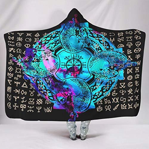 Sudadera con capucha estilo vikingo con diseño de tatuaje vikingo grande, cómoda, estilo retro, con capucha, para estudio de invierno, para adultos, mujeres/hombres, color blanco, 152 x 203 cm