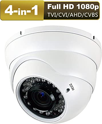 1080P Dome Security Camera HD 4-In-1 CCTV Camera 2.8mm-12mm Varifocal Lens 100ft IR Day/Night Monitoring IP66 ,Compatible with 1080P-AHD/CVI/TVI&CVBS DVR ( White )