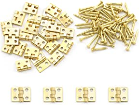 SDTC Tech 24-Pack Mini Brass Hinges 10x8mm 180 Degree Rotation Miniature Furniture Hardware with Mounting Nails for Jewelr...