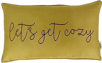 Vargottam Cotton EmbroideredLets Get CozyLumbar Farmhouse Throw Pillow Cover Quote Cushion Covers 12x20 Inches Housewarm...