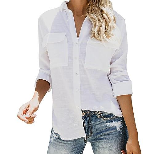 Tops de Lino de algodón Mujeres Camisa de Manga Larga sólida y Casual Botón  de la 654c3bb0dc7
