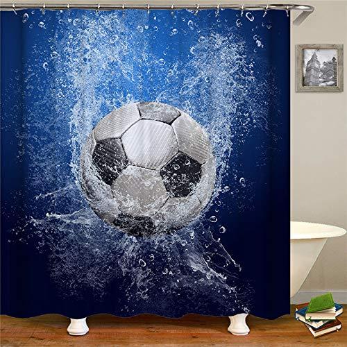 YEDL Neue Fußball Muster gedruckt Duschvorhänge Bad Vorhang Stoff wasserdichte Makramee Duschvorhang Mode Home Decor 180 × 180Cm