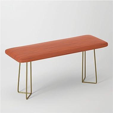 Meteor Stripes - Rust Orange by Silverpegasus on Bench/Ottoman - Gold