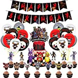 Five Nights at Freddy Theme Birthday Party Supplies, Five Nights Party Incluing FNAF Birthday Banner, FNAF Cake Topper, 24pcs FNAF Cupcake Topper, FNAF Party Balloons for Kids Party Favors Black