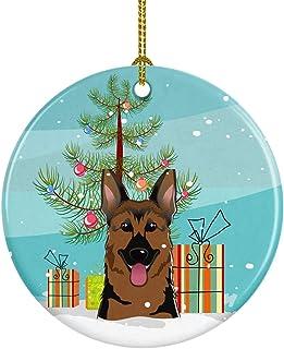 Caroline's Treasures Christmas Tree and German Shepherd Ceramic Ornament, Multicolor